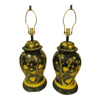 Vintage Black Lamps With Yellow Applied Abstract Floral Designs - A Pair