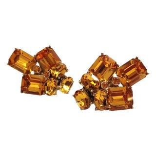 Ora Orange Rhinestone Earrings
