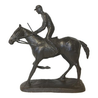 Cast Metal Horse Jockey Sculpture