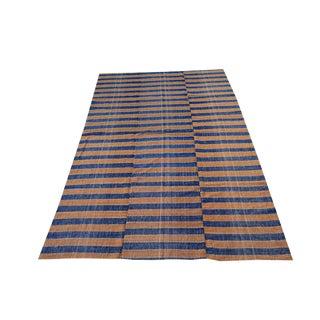 Vintage Turkish Striped Handmade Flatweave Rug - 5′6″ × 8′11″