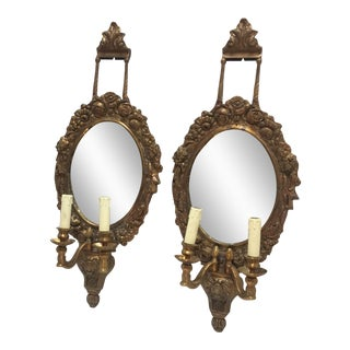 French Brass & Mirrored Sconces - A Pair
