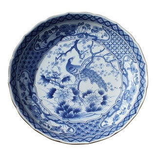 Blue and White Chinese Charger / Bowl with Peacock