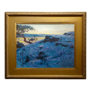 Svend Rasmussen Svendsen-Twilight Lake Landscape-Impressionist Oil Painting-c1920s