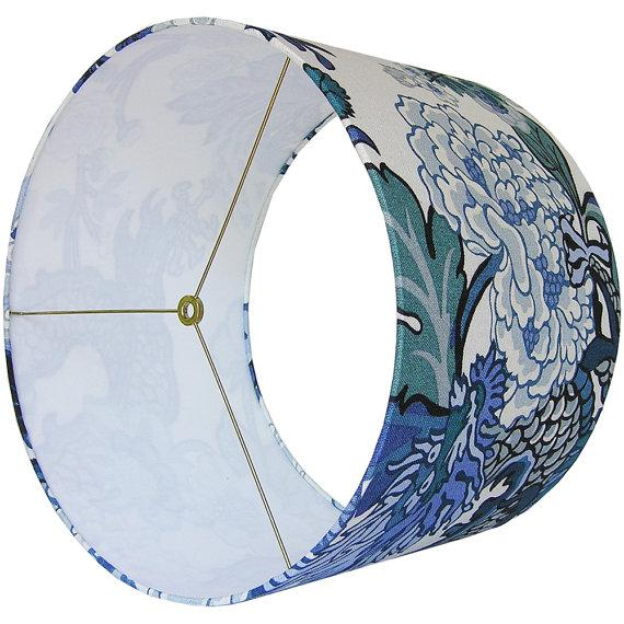 Large schumacher chiang mai dragon chinese blue custom for Large blue lamp shades
