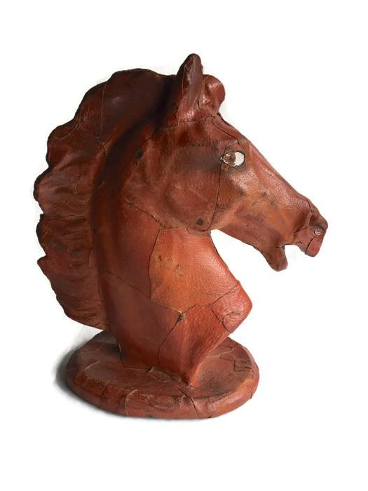 Vintage leather horse head statue chairish