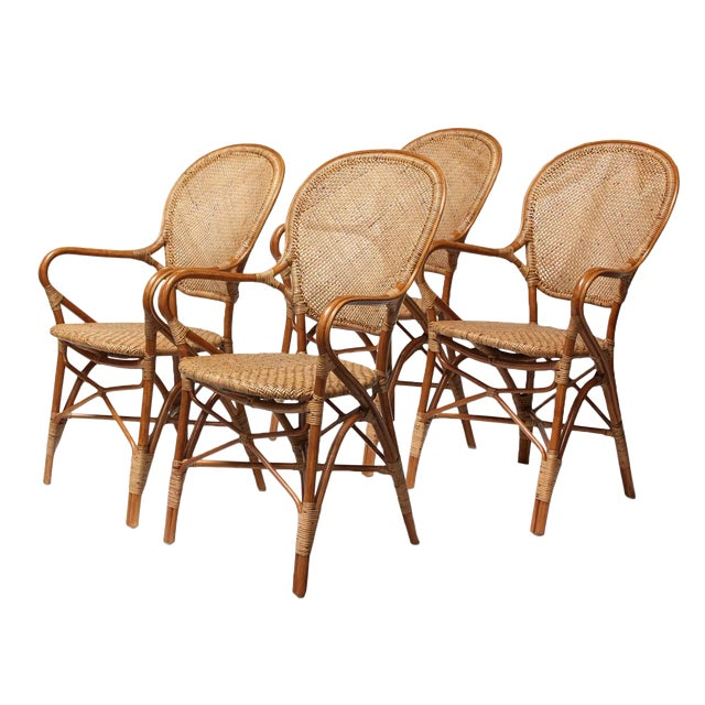 Rattan Bistro Dining Chairs - Set of 4 - Image 1 of 7