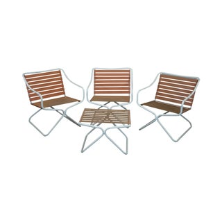 Brown Jordan Patio Arm Chairs & Ottoman Set