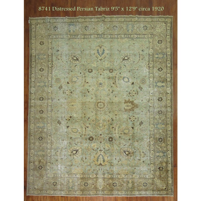 Mint Green Persian Tabriz Rug 9 5 X 12 9 Chairish