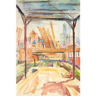 "David Landis ""State St. Bridge"" Chicago Watercolor Scene 1948"