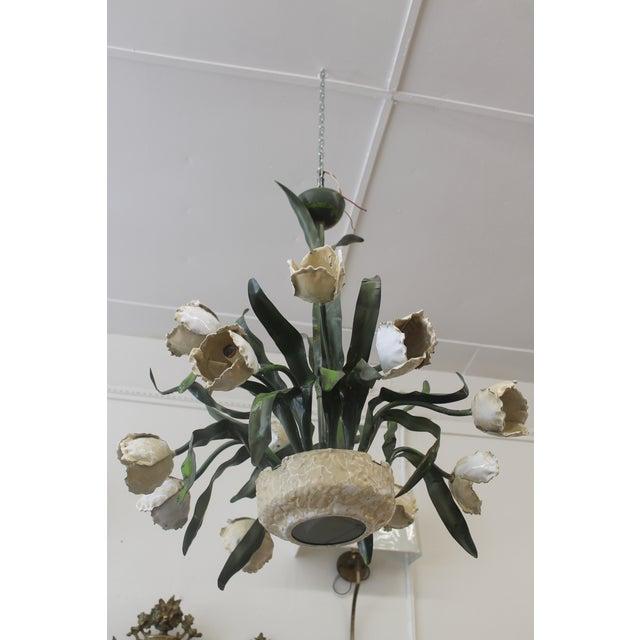 Vintage Ceramic Tulips Chandelier - Image 3 of 6