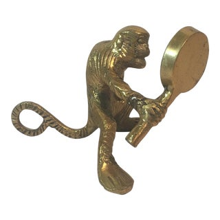 """Brass """"Monkey See"""" With Mirror"""