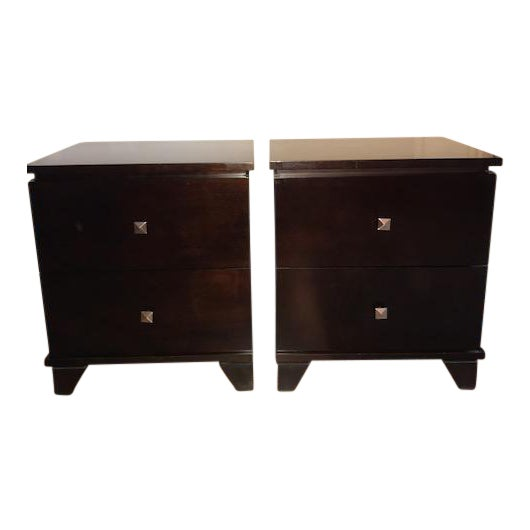 Two-Drawer Wooden Nightstands - Set of 2 - Image 1 of 5