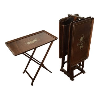 Vintage Italian Hand Painted TV Trays & Stand