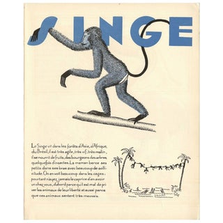 1930s French Art Deco Monkey Giclée Print