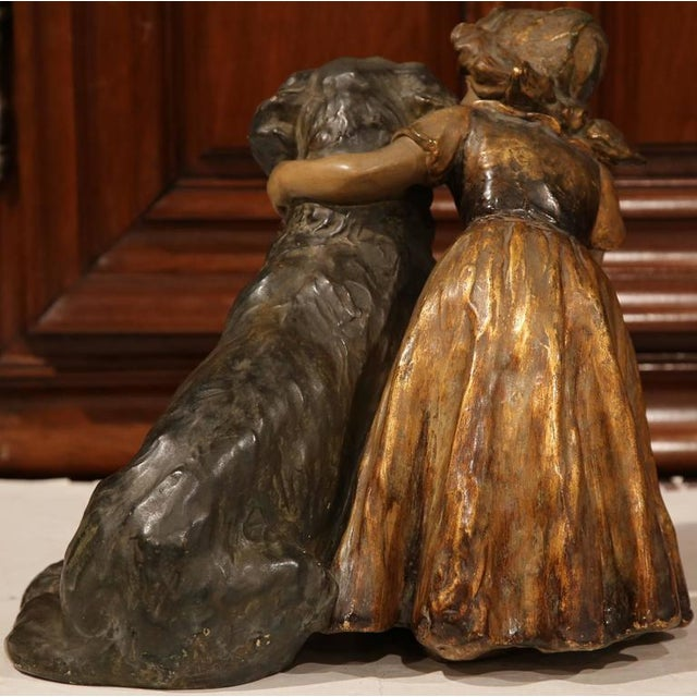 19th Century French Girl & Dog Terracotta Sculpture - Image 7 of 9