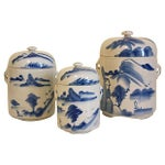 Image of Blue & White Containers - Set of 3