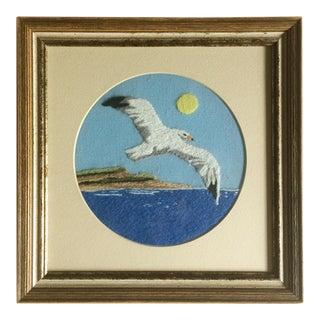 Vintage Embroidered Seagull Art