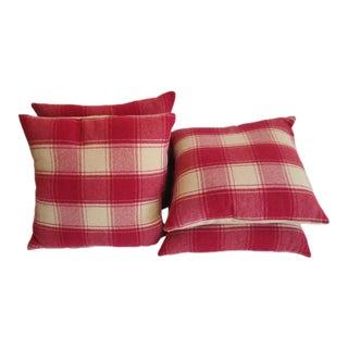 Raspberry and Cream Wool Pendleton Blanket Pillows
