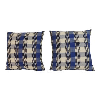 Pair of Blue and White Ikat Vintage Decorative Pillows.