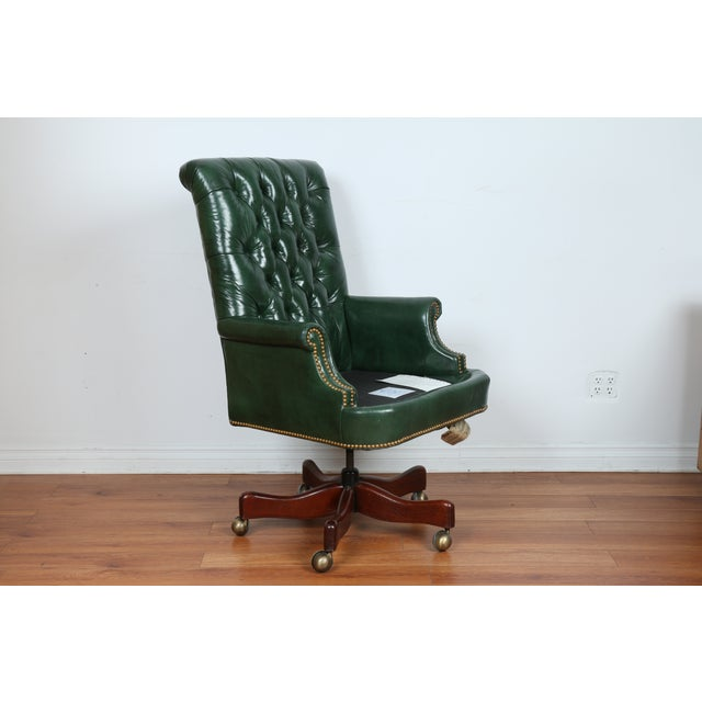 hickory green leather chesterfield office chair chairish