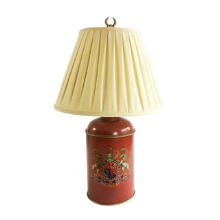 Red Lamp With Crest & Ivory Shade