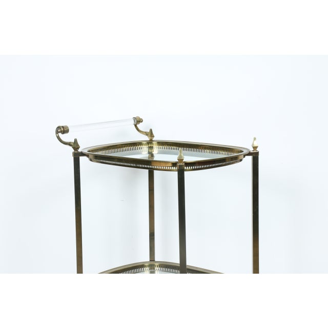 Mid-Century Gold-Tone Bar Cart - Image 7 of 11