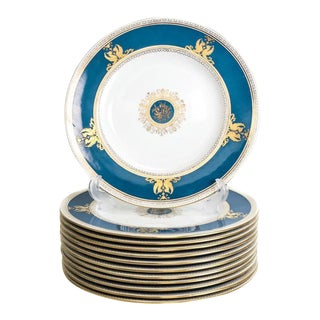 Wedgwood Raised Gilt & Powder Blue Porcelain Dinner Plates - Set of 12