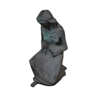 Antique Bronze Garden Statue of Woman Praying