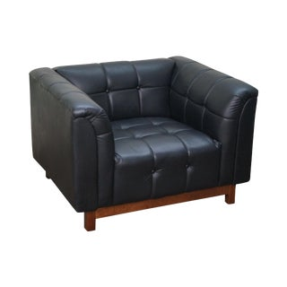 Mid Century Modern Black Faux Leather Tufted Club Chair