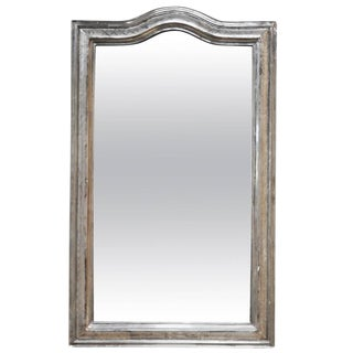 19th Century French Louis Philippe Mirror in Silver Gilt with Arched Top