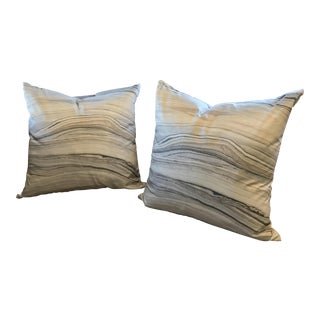 Gray Marbleized Pillows - A Pair