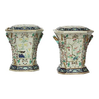 Pair of Chinese Export Bough Pots