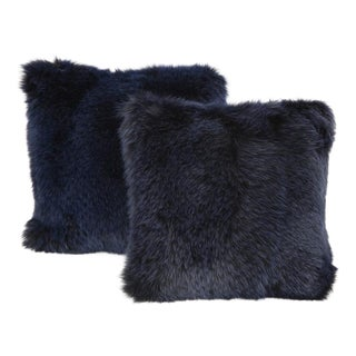 Navy Fur Pillows - A Pair