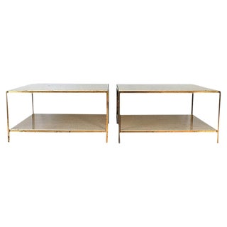 Brass & Travertine Side Tables - a Pair