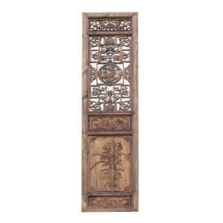 Chinese Vintage Wood Finish People Flower Bird Accent Wall Panel Headboard