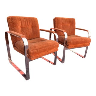 Directional Mid-Century Chrome Lounge Chairs - A Pair