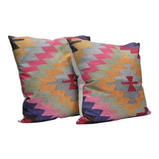 Diamond Pattern Kilim Inspired Pillows - A Pair