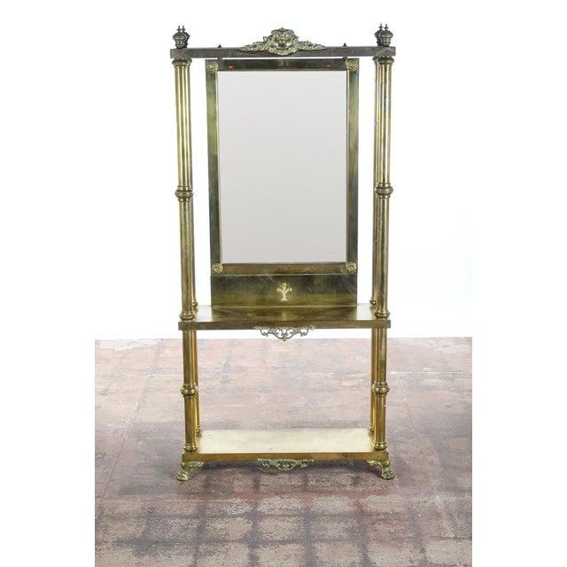 Antique Victorian Brass & Beveled Mirror Hall Tree - Image 4 of 9
