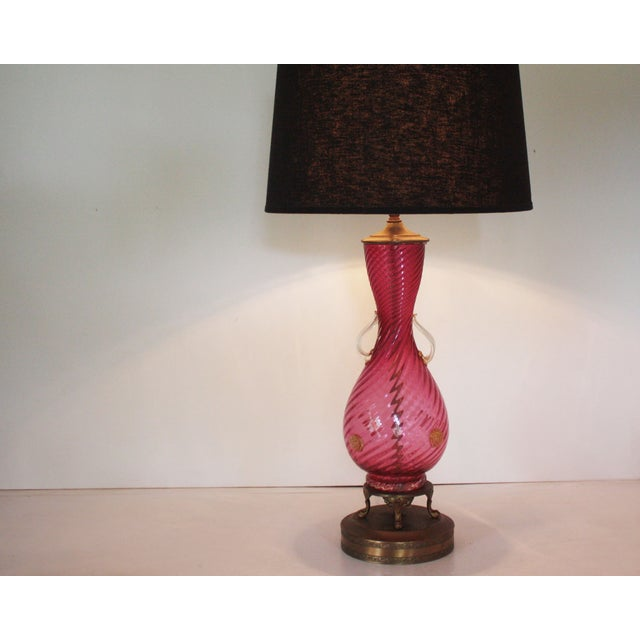 Image of Venetian Cranberry Swirl Table Lamp