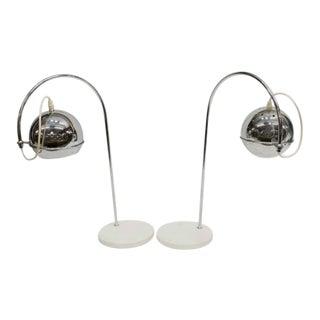 Italian Mid-Century Modern Chromed Table Lamps - a Pair