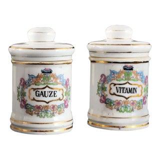 Antique Porcelain Apothecary Vanity Jars - A Pair