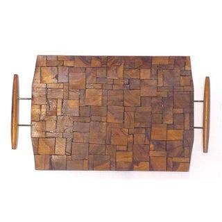 Mid-Century Modern Mosaic Wood Tray
