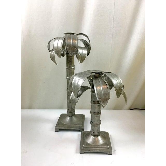 Image of Palm Tree Metal Candleholders - Pair