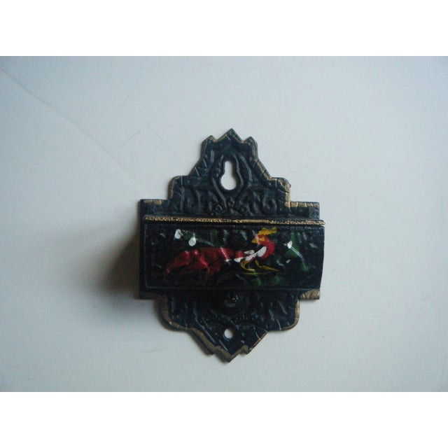 Vintage Cast Iron Match Safe With Rooster Design - Image 2 of 4