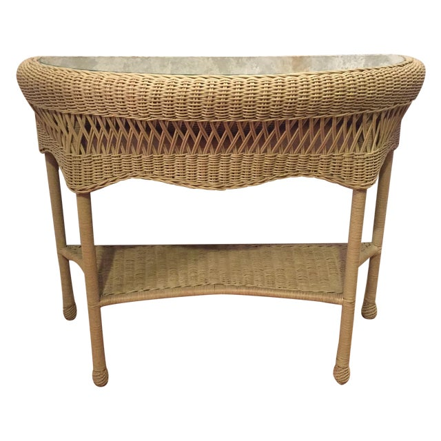 Rattan & Glass Pale Green Half Moon Console Table - Image 1 of 4