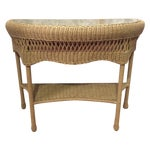 Image of Rattan & Glass Pale Green Half Moon Console Table