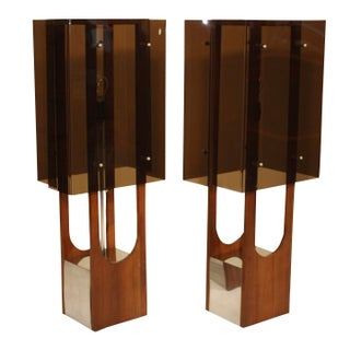 1960s Modern Acrylic & Walnut Table Lamps - A Pair