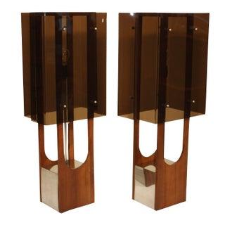 1960s Modern Acrylic & Walnut Table Lamps - A Pair