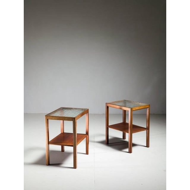 Thorald Madsen Pair of Mahogany Side Tables with Glass Top, Denmark, 1930s - Image 3 of 6