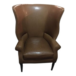 Victoria Hagen Saddle Colored Leather Wing Chair